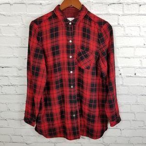 J.jill red and black buffalo check flannel top